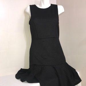Black & White Net A-Line Ruffled Sleeveless Dress